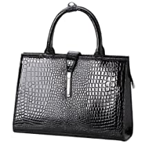 Hot Sale MG Collection MATHIS Chic Black Faux Crocodile Patent Leather Satchel Handbag