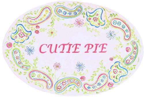 The Kids Room by Stupell Cutie Pie with Paisley Border Oval Wall Plaque