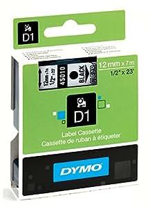 Dymo D1 Standard Labelling Tape 12mm x 7m - Black on Transparent