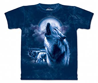 The Mountain Mens Full Moon Wolves Short Sleeve Tee, Blue, XXX-Large