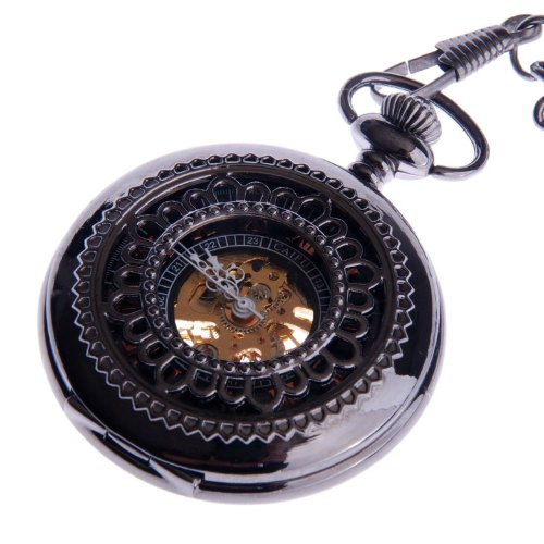 Skeleton Pocket Watch Chain Mechanical Hand Wind with Bronze Red Roman Numerals Half Hunter Vintage Antique Look