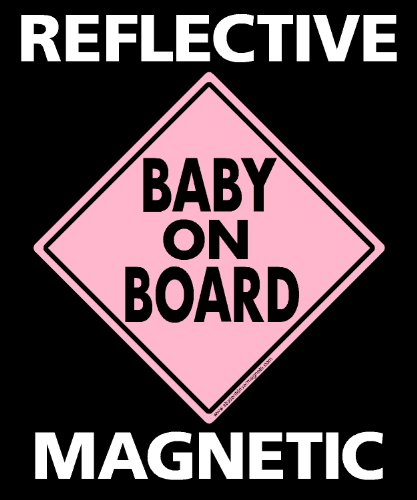 Baby on Board Magnet Vehicle Magnetic Sign Reflective Pink