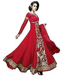Mahaveer Fashion Women's Faux Georgette Semi-Stitched Anarkali (herrite_Red_Free Size)