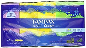 Tampax Pearl Compak Plastic, Triplepack With Light/Regular/Super Absorbencies, Unscented Tampons, 40 Count (Pack of 2)