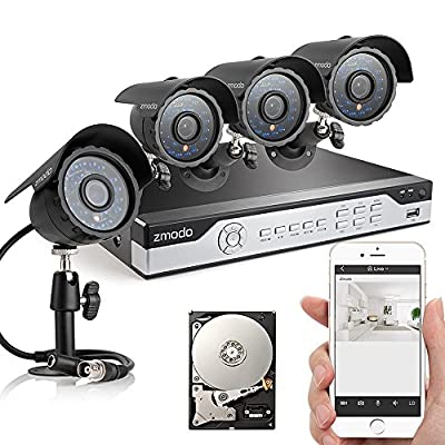 Zmodo ZM-B8Q4-500G 8CH 960H P2P DVR Security System with 4 x 600TVL Cameras & 500GB HDD (Black)