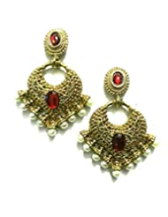 Ethnic Fashion Earrings With Pearl And Coloured Crystals In Golden Finish, Maroon - B00NZBPMQI