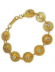 19.80 Grams Genuine White Topaz Gold Plated Brass Bracelet
