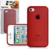 CNL Protective Hexagonal Gel Cover Case Skin for the Apple iPhone 4 / 4S Mobile Phone (Red)