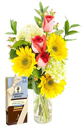 You Are My Sunshine Bouquet and Scharffen Berger Chocolate -With Vase