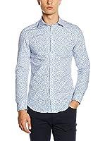 Diesel Camisa Hombre Pinstripe (Blanco / Azul)