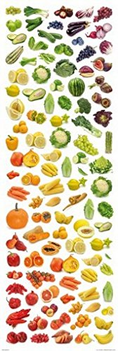 Posters: Cuisine Poster Art Print - Rainbow Collection Of Fruit And Vegetables (62 X 21 Inches) front-438284