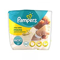 Pampers New Baby Size 0 Micro Nappies, 24 Nappies