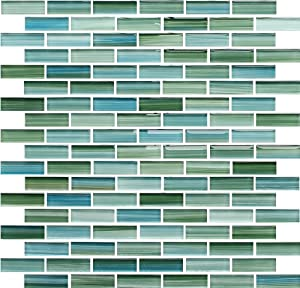 Green and Blue Hand Painted Glass Mosaic Subway Tiles - - Amazon.com