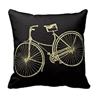 Gold & Black Vintage Bicycle Pillow Cushion Cover Fashion Home Decorative Pillowcase Cotton Polyester Pillow Cover(45cm x 45cm, One Sides) by Pillow Cover