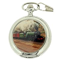 Boxx Gents White Dial Train Pocket Watch on 12 Inch Chain Boxx87