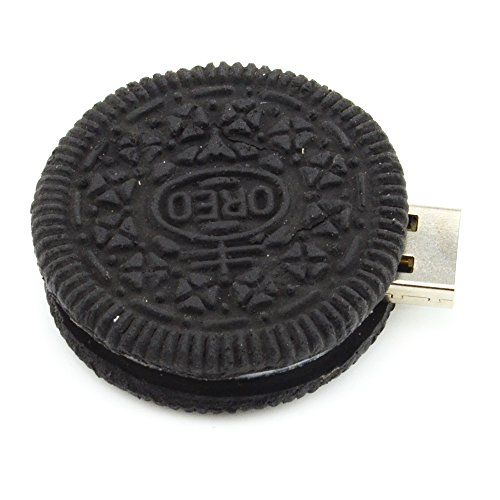 32GB Round Cookie USB Flash Drive (Black) - Food Series