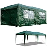 Outsunny 6m x 3m Garden Heavy Duty Waterproof Pop Up Gazebo Marquee Party Tent Wedding Canopy Awning Green With Storage Bag