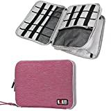 BUBM Universal Double Layer Travel Gear Organizer / Electronics Accessories Bag / Battery Charger Case, Fit for iPad/iPad Mini/iPad Air (Large, Rose Red and Light Grey)