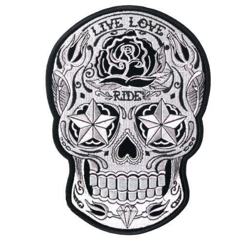 Motorcycle Biker Jacket Embroidered White Sugar Skull Patch 4