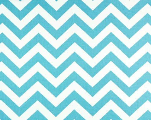 Modern Chevron Area Rug- Girlie Blue (Turquoise) And White Zig-Zag/ Chevron- 4.5