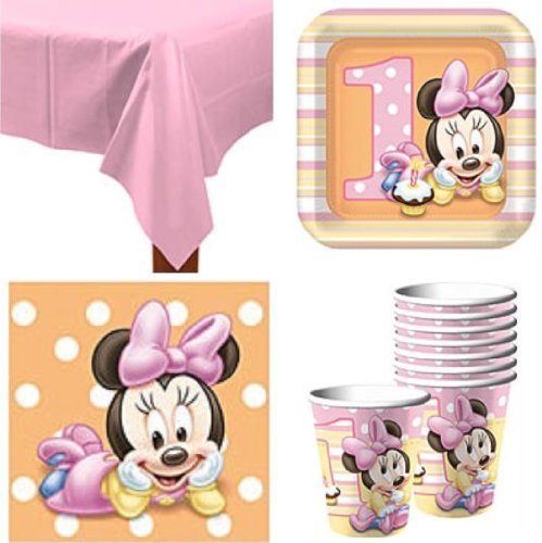 Best Review Of Baby Minnie Mouse 1st Birthday Party Pack Supplies for 16 Guests