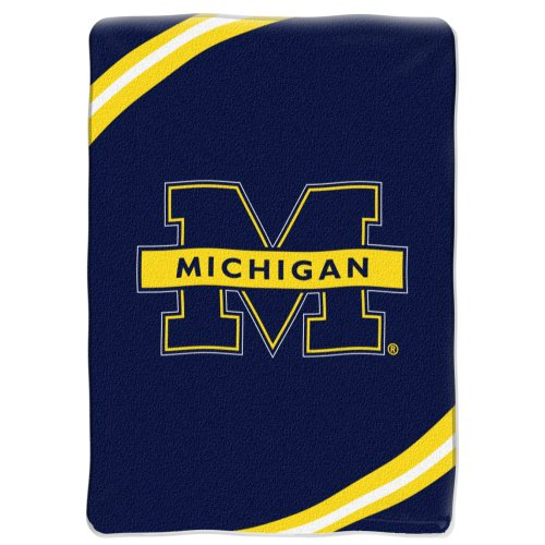 Ncaa Michigan Wolverines Force Royal Plush Raschel Throw Blanket, 60X80-Inch front-106711