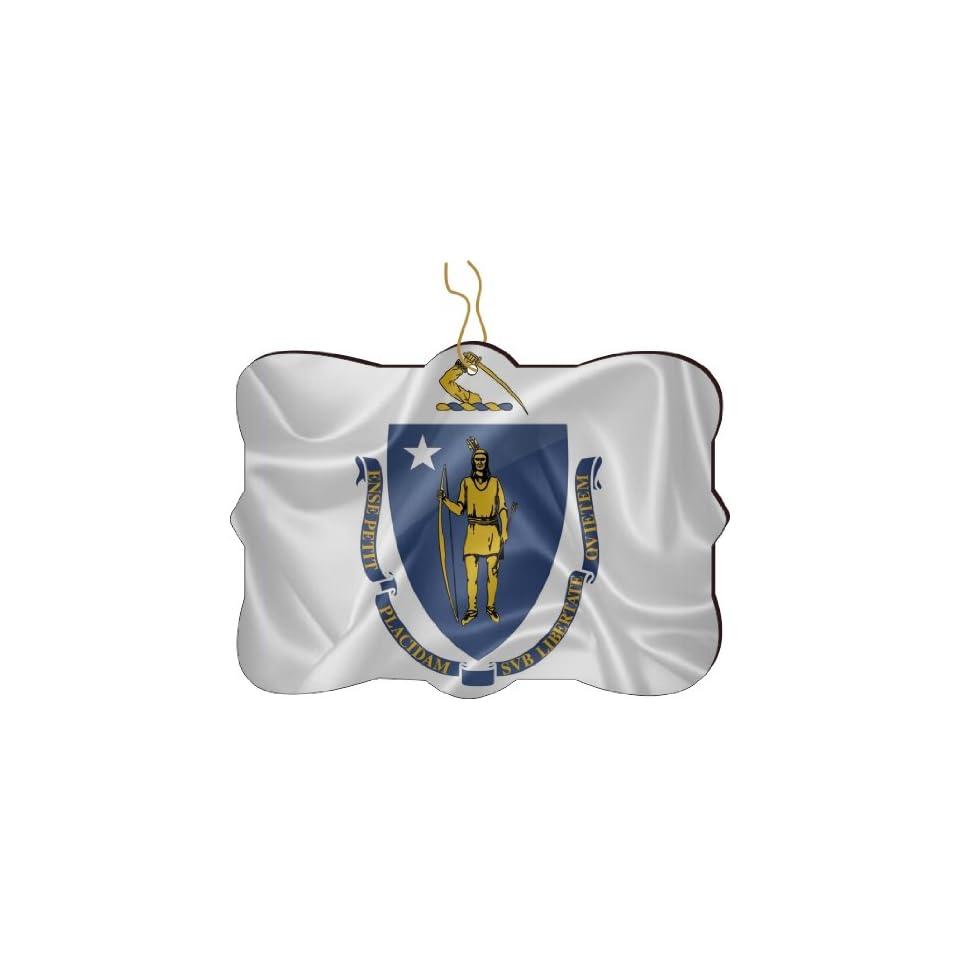 Rikki Knight RKWS SQORN 2694 Christmas Tree Ornament / Car Rear View Mirror Hanger Massachusetts State Flag Design