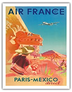 paris mexique directs air france ruines maya airline affiche vintage de voyage vintage. Black Bedroom Furniture Sets. Home Design Ideas