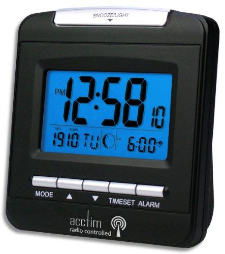acctim denio silver digital radio controlled travel table alarm clock 71117 mestoli e. Black Bedroom Furniture Sets. Home Design Ideas