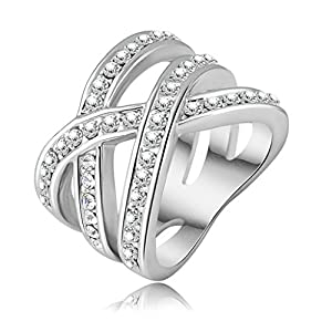 Womens Girls 18K Gold Plated Rings Engagement Wedding Bands Alloy Double Cross Size US 9 - Aooaz
