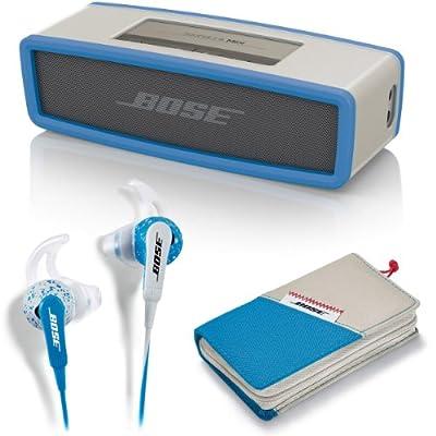 Bose SoundLink Mini Bluetooth Speaker Blue & Freestyle In Ear Earbuds Ice Blue - Bundle