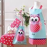 Ladelle International Sweet Owl Kids Chef Set, Blue/Pink