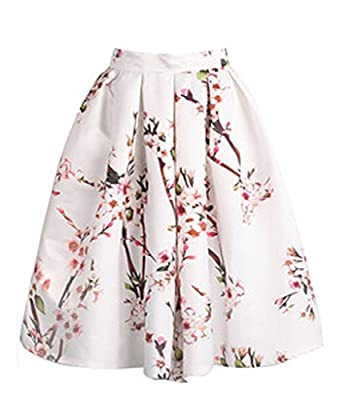 The Bazaar R Women Peach Blossom Pleated High Waist Full Length Skirt