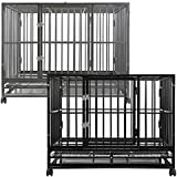 "SmithBuilt - Heavy Duty Dog or Animal Cage w/ 2 Doors & Metal Tray Pan - 36"" Length - Silver"