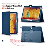 ElecShield Case for Samsung New Galaxy Note 10.1 2nd Tablet 2014 Edition Version Luxury Faux Leather Stand Case (Dark Blue)