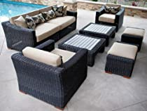 Hot Sale RST Outdoor OP-PERES08-E-K Resort Collection 8-Piece Deep Seating Rattan Patio Furniture Set, Espresso