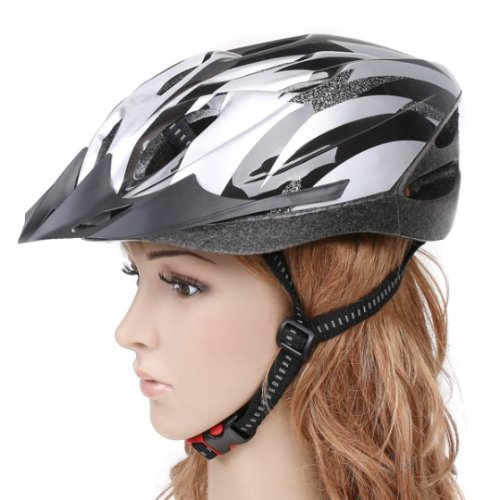 Cycling Bicycle Adult Bike Handsome Carbon Helmet with Visor Silver by AHMET
