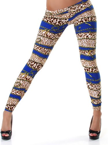 PF-Fashion Damen Leggins Leggings Leo-Ketten-Print - 38-40 Blau