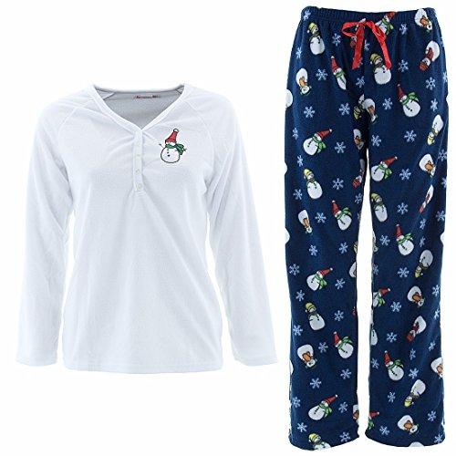 Emme Jordan Snowman Frolic Womens' White Fleece Pajamas L