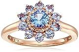 10k Pink Gold Tanzanite and Diamond Flower Ring, Size 7