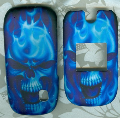 blue skull Rubberized Hard phone Cover AT&T ZTE Z221 protector snap on case