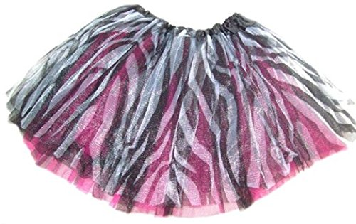 Animal Print Zebra and Leopard Chiffon Tutu for Girls Ages 2-7 (Zebra with Hot Pink)