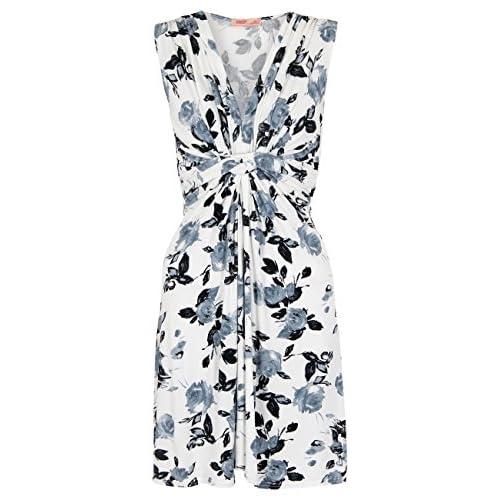 KRISP® Womens Knot Front Ruched V Neck Summer Dress Size 8 10 12 14 16 18 20