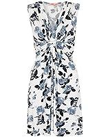KRISP® Womens Knot Front Dress Floral V Neck Pleated Shift Sleeveless Mini Dress Summer (6252)