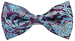 Flora&Fred Men\'s Designer Handmade Floral Bow Tie Turquoise and Purple