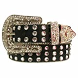 Black 3 Row Rhinestone Studded Gorgeous Bling Belt