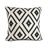 Uphome White and black Series Geometry Polyester Home Decorative Accent Throw Pillow Cover Cushion Case Pillow Sham for Sofa 18-Inch (A-1)