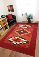 Milan Red, Terracotta, Brown & Off-White Tribal Aztec Rug 1632-S55 - 5 Sizes from The Rug House