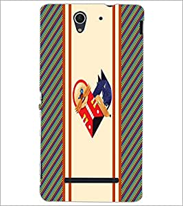 PrintDhaba Heart D-3213 Back Case Cover for SONY XPERIA C3 (Multi-Coloured)