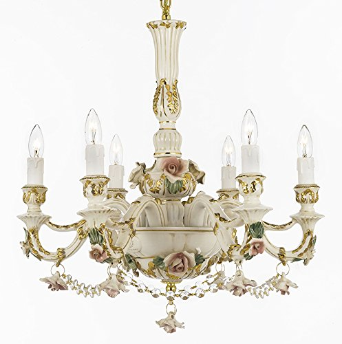 Authentic Capodimonte Porcelain Chandelier Lighting Chandeliers Cottage Chic Made in Italy, Good for Dining Room, Kids & Girls Bedrooms 24K Gold Trimmed w/ Roses & Flowers Dressed w/ Crystals!